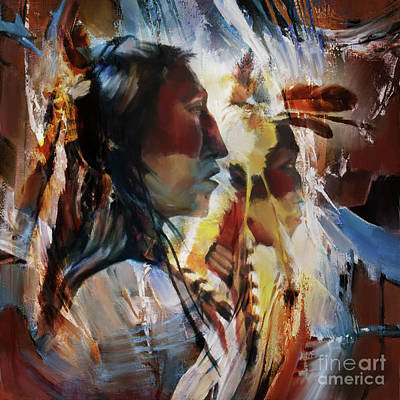Apache Warrior Painting - First Nation 67yu by Gull G