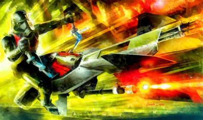 Times Digital Art - First Order Combat Speeder  - Aquarell Style -  - Da by Leonardo Digenio