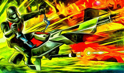 Falcon Digital Art - First Order Combat Speeder  - Van Gogh Style -  - Da by Leonardo Digenio