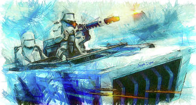 Robots Painting - First Order Snowmobile - Pencil Style by Leonardo Digenio