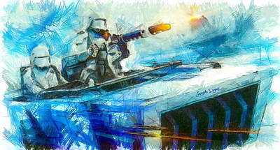 Time Digital Art - First Order Snowmobile  - Pencil Style -  - Da by Leonardo Digenio