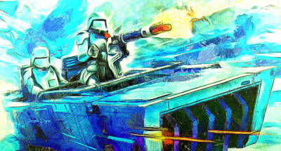 Outer Space Painting - First Order Snowmobile  - Van Gogh Style -  - Da by Leonardo Digenio