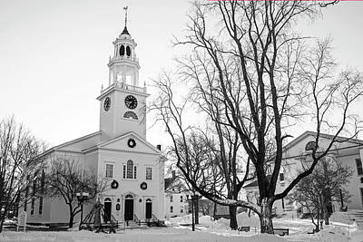 Photograph - First Parish Church Manchester Ma North Winter Snow Black And White by Toby McGuire