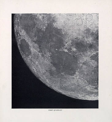 Drawing - First Quadrant - Surface Of The Moon - Lunar Surface - Selenographia - Celestial Chart by Studio Grafiikka
