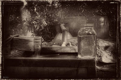 Photograph - First Run Of Moonshine In Black And White Antiqued by Greg Mimbs