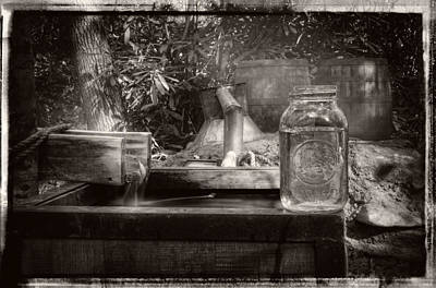 Photograph - First Run Of Moonshine In Black And White With Border by Greg Mimbs