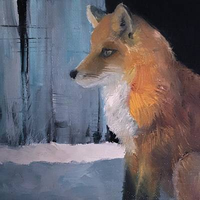 Painting - First Snow And Fox by Michele Carter