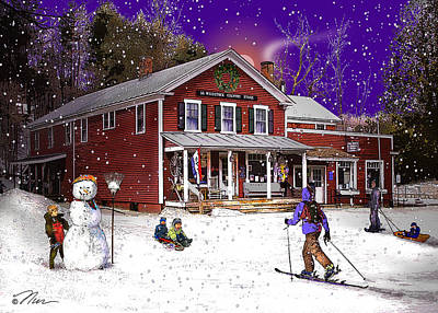 Photograph - First Snow At The South Woodstock Country Store by Nancy Griswold
