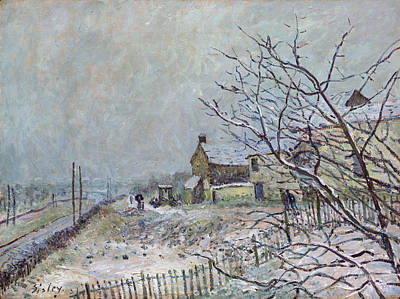 Veneux Painting - First Snow At Veneux Nadon by Alfred Sisley