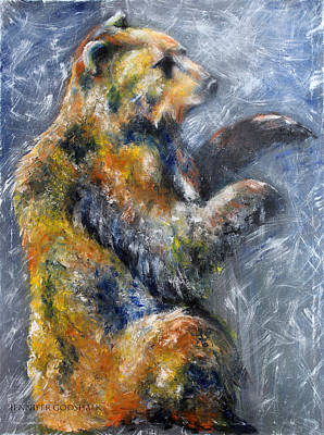 Painting - First Snow Contemporary Colorful Bear Painting by Jennifer Godshalk