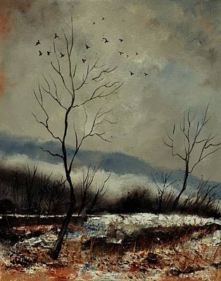 Movies Star Paintings - First snow in Harroy by Pol Ledent