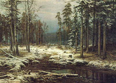 First Snow Art Print by Ivan Ivanovich Shishkin