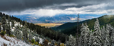 Photograph - First Snow, Jackson From Teton Pass by TL Mair