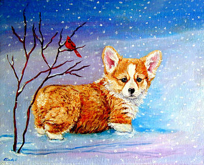 Corgi Painting - First Snow by Lyn Cook