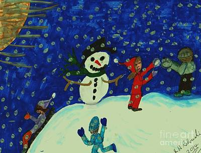 Snowman Mixed Media - First Snow Of The Season by Elinor Rakowski