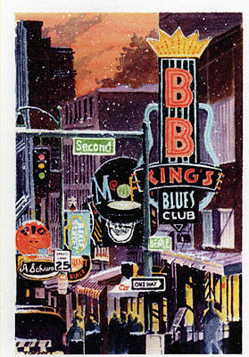 Beale Street Painting - First Snow On Beale Street by Terry DeWitt