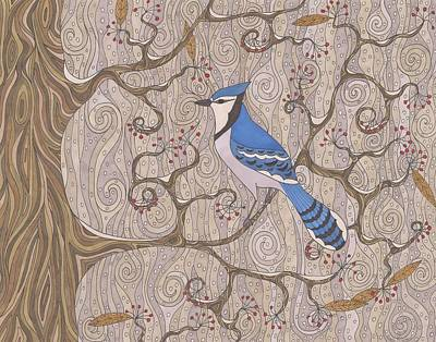 Bluejay Drawing - First Snow by Pamela Schiermeyer