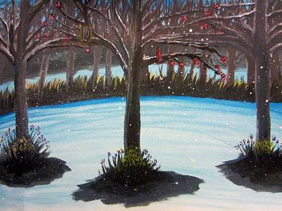 Tree Painting - First Snow by Stephanie Zelaya
