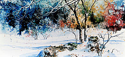 Winter Scene For Sale Painting - First Snowfall by Hanne Lore Koehler