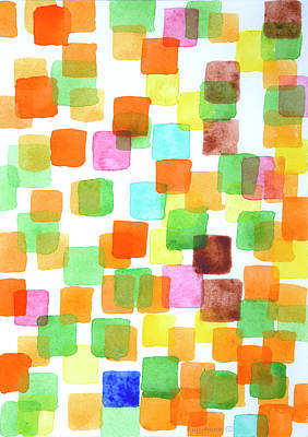 First Squares Pattern Art Print by Heidi Capitaine