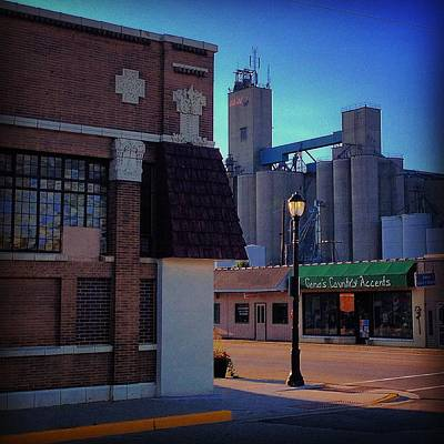 Photograph - First State Savings Bank And Silos by Chris Brown