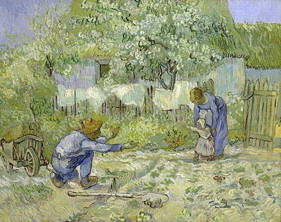 Siblings Painting - First Steps, After Millet by Vincent van Gogh