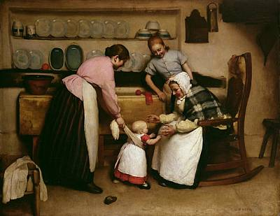 Grandmother Painting - First Steps by George Hall Neale