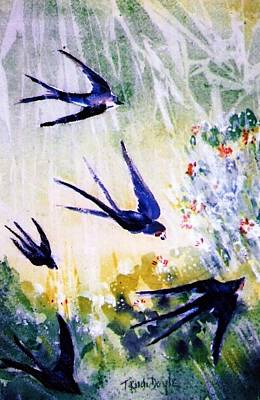 Flora And Fauna Painting - First Swallows Of Summer  by Trudi Doyle