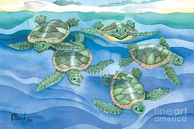 Turtle Wall Art - Painting - First Swim by Paul Brent
