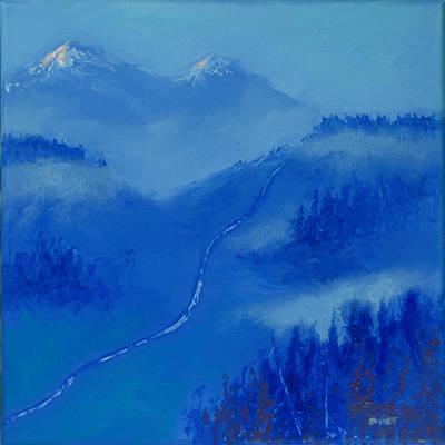 Ski Run Painting - First Tracks 4 by Robert Bissett