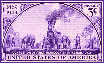 Boiler Painting - First Transcontinental Railroad by Lanjee Chee