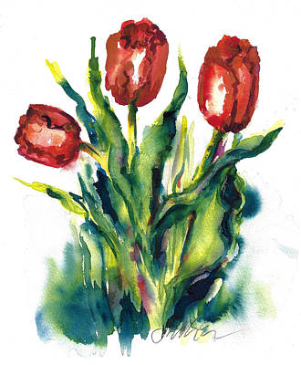 Painting - First Tulips In Snow by Jacki Kellum
