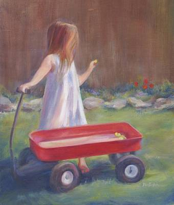 Little Red Wagon Painting - First Tulips by Laurie VanBalen