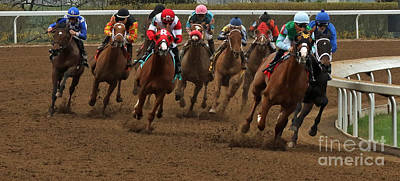 Keeneland Photograph - First Turn At Keeneland by Angela G