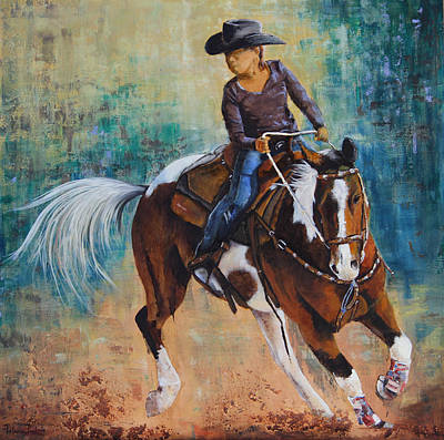 Race Horse Mixed Media - First Turn by Patricia Pasbrig