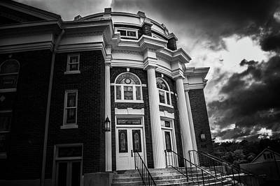 Photograph - First United Methodist Church In The Light In Black And White by Greg Mimbs