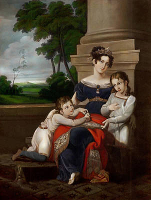 Saxe Painting - First Wife And First Duchess Of Saxe Coburg Gotha With Her Chldren by MotionAge Designs