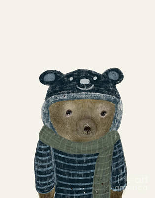 Print featuring the painting First Winter Bear by Bri B