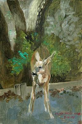 Painting - First Young Buck Pad by Eileen Hale
