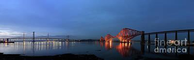 Firth Of Forth Bridges At Twilight - Panorama Art Print by Maria Gaellman