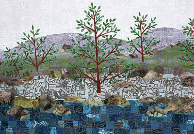 Mixed Media - Fish And Five Trees Detail 1 by Janyce Boynton