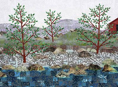 Mixed Media - Fish And Five Trees Detail 2 by Janyce Boynton
