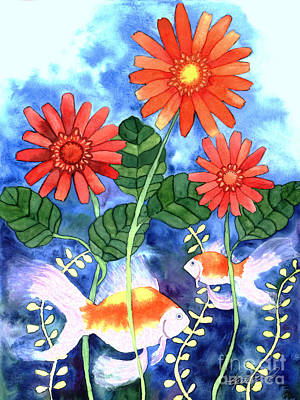 Painting - Fish And Flowers by Kristen Fox