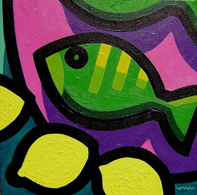 Fish Food Painting - Fish And Lemons by John  Nolan