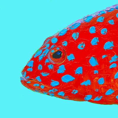 Bathroom Painting - Fish Art - Strawberry Grouper by Jan Matson
