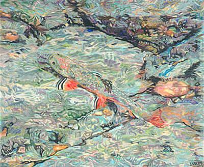 Giclee Drawing - Fish Art Trout Art Brook Trout Brookie Artwork Nature Underwater Wildlife Creek Art River Art Lake by Baslee Troutman