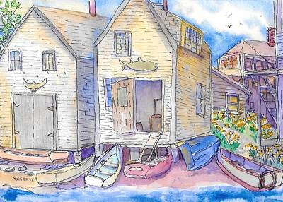 Painting - Fish Beach Monhegan Island Maine  by Roseann Meserve