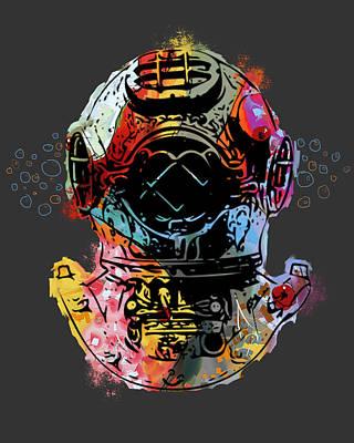 Diving Helmet Digital Art - Fish Diver by David Loblaw
