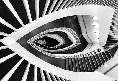 Fish-eye Abstract Staircase Art Print by Elena Kovalevich