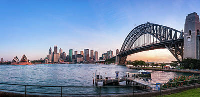 Photograph - Fish Eye Panorama Of Sydney Harbour At Sunset by Daniela Constantinescu